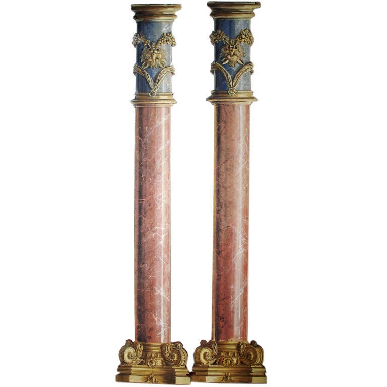 Pair Of Monumental Neoclassical Trompe L 39 Oeil Columns At