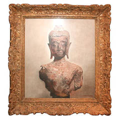 E. Winterberg 20th Century Torso of Buddha Painting