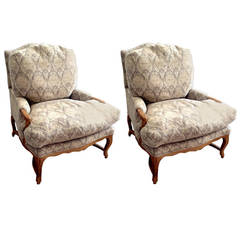 Pair of Louis XV Style Upholstered Fauteuils with Ottoman