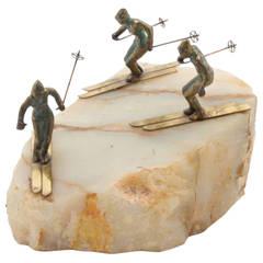 Unusual Tabletop Ski Slope Sculpture on Quartz by Curtis Jere