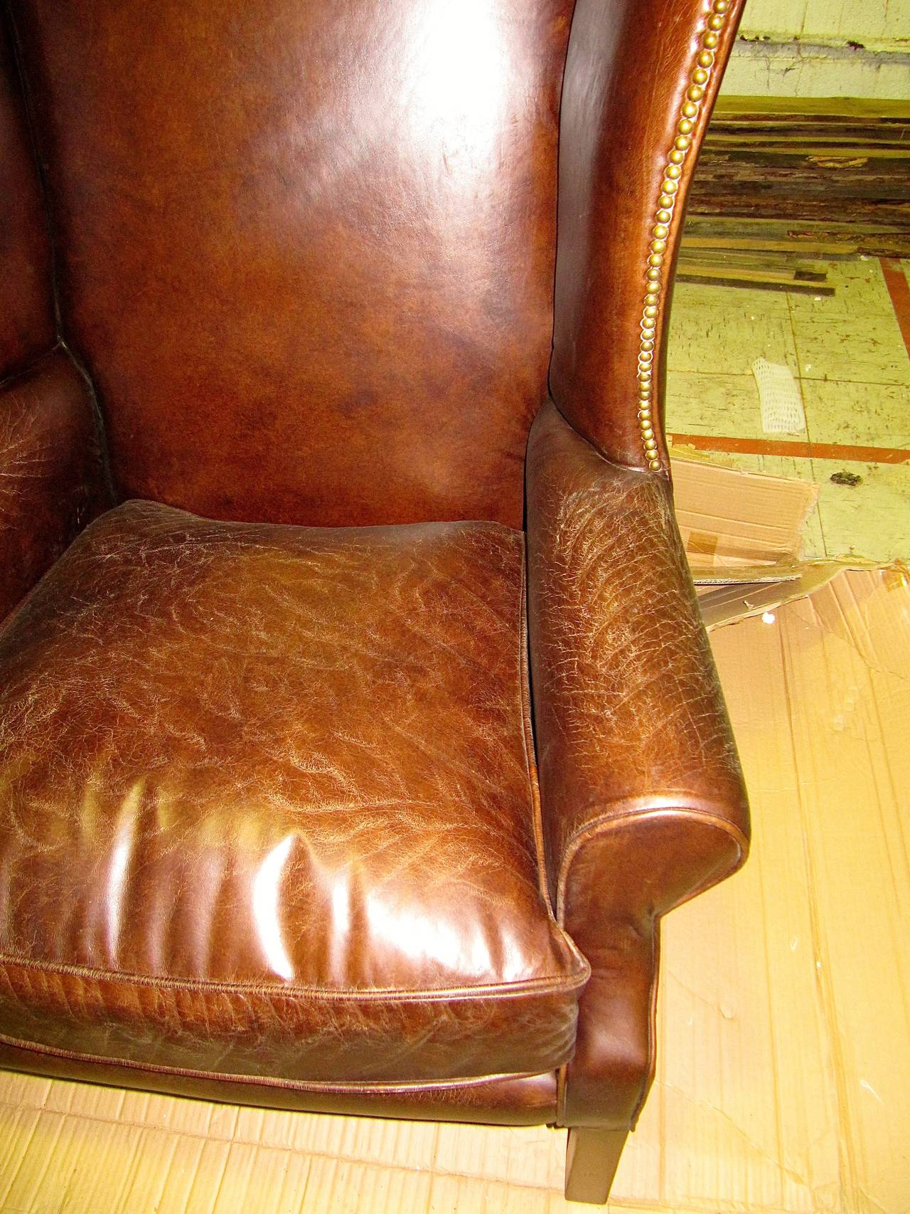 Two George III Style Wingback Chairs with Distressed Leather In Excellent Condition For Sale In Buchanan, MI
