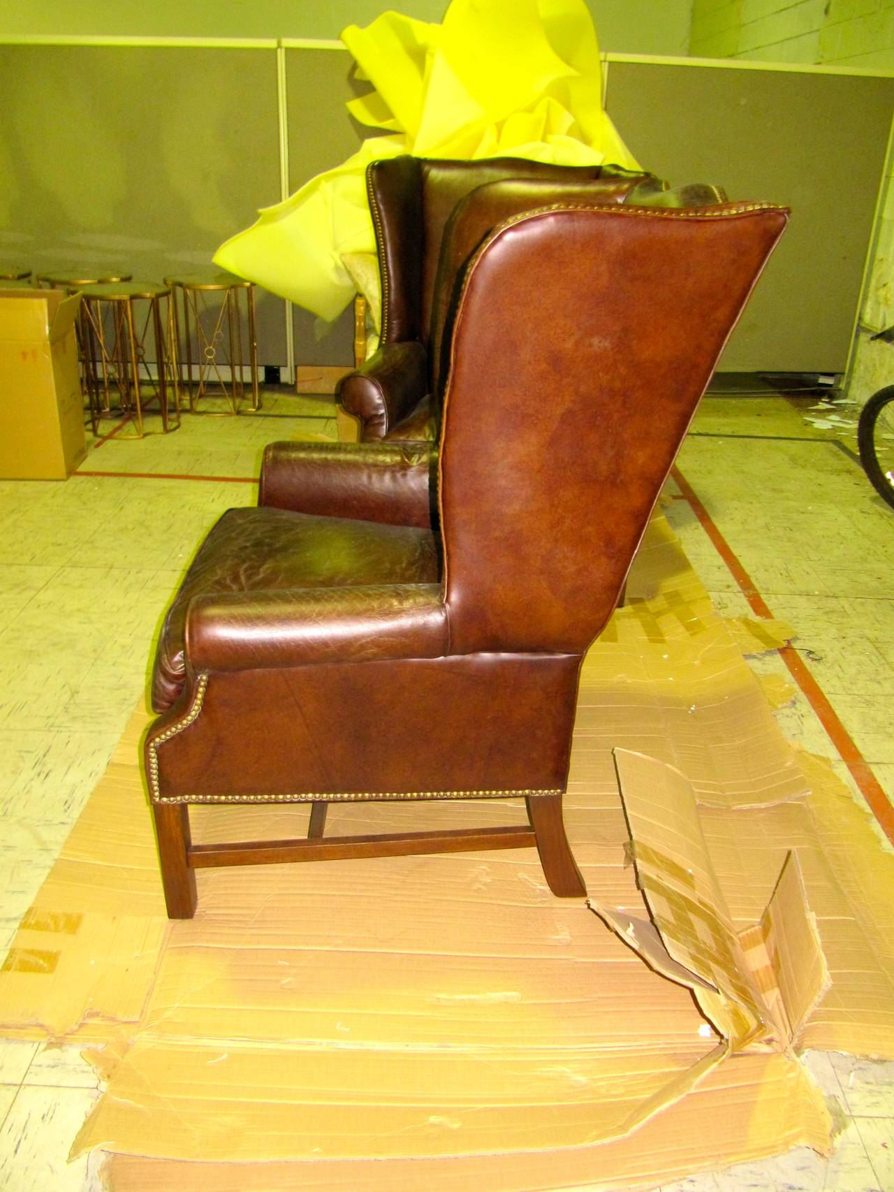 Two George III Style Wingback Chairs with Distressed Leather For Sale 1