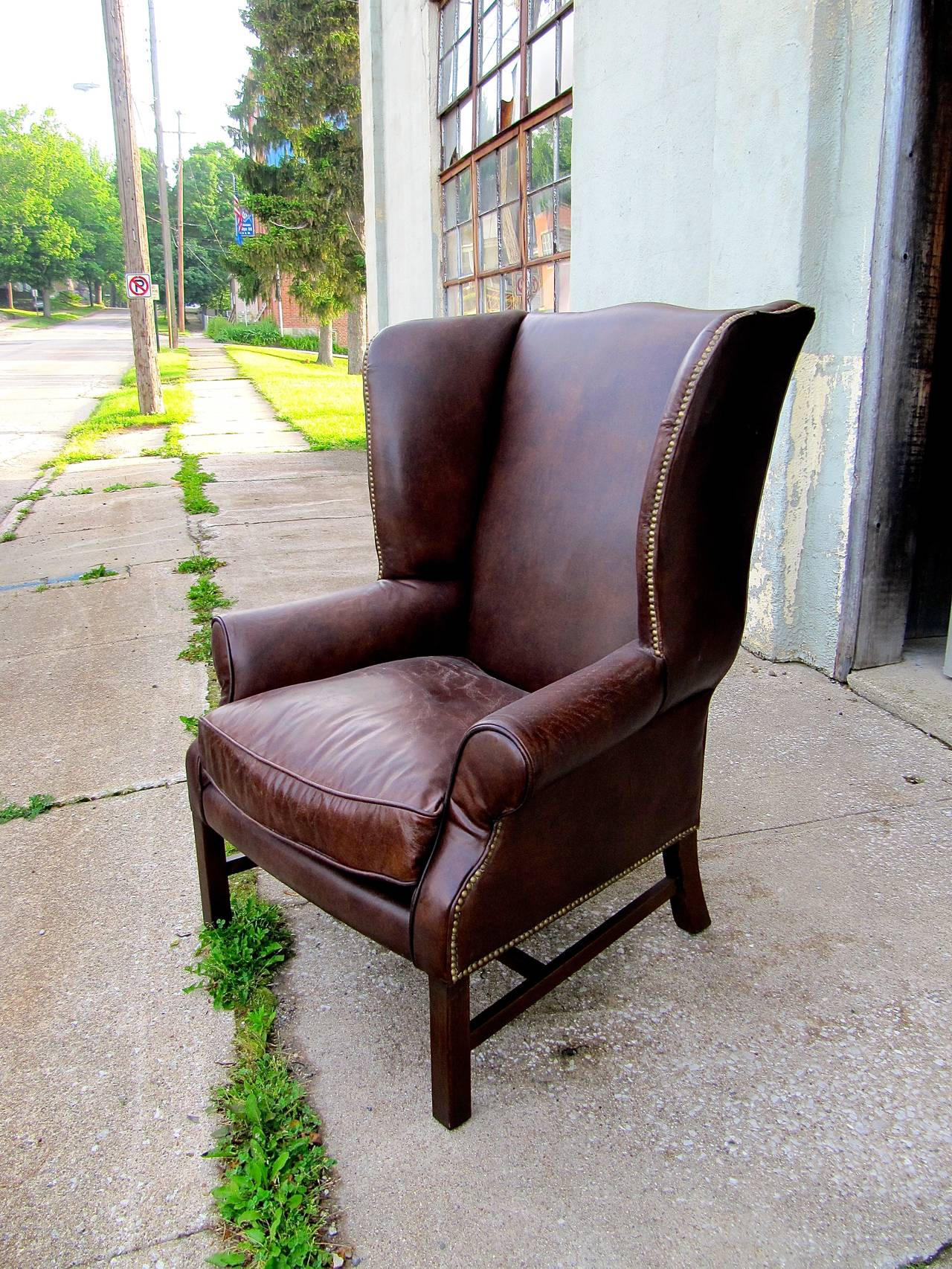 Two George III Style Wingback Chairs with Distressed Leather For Sale 2
