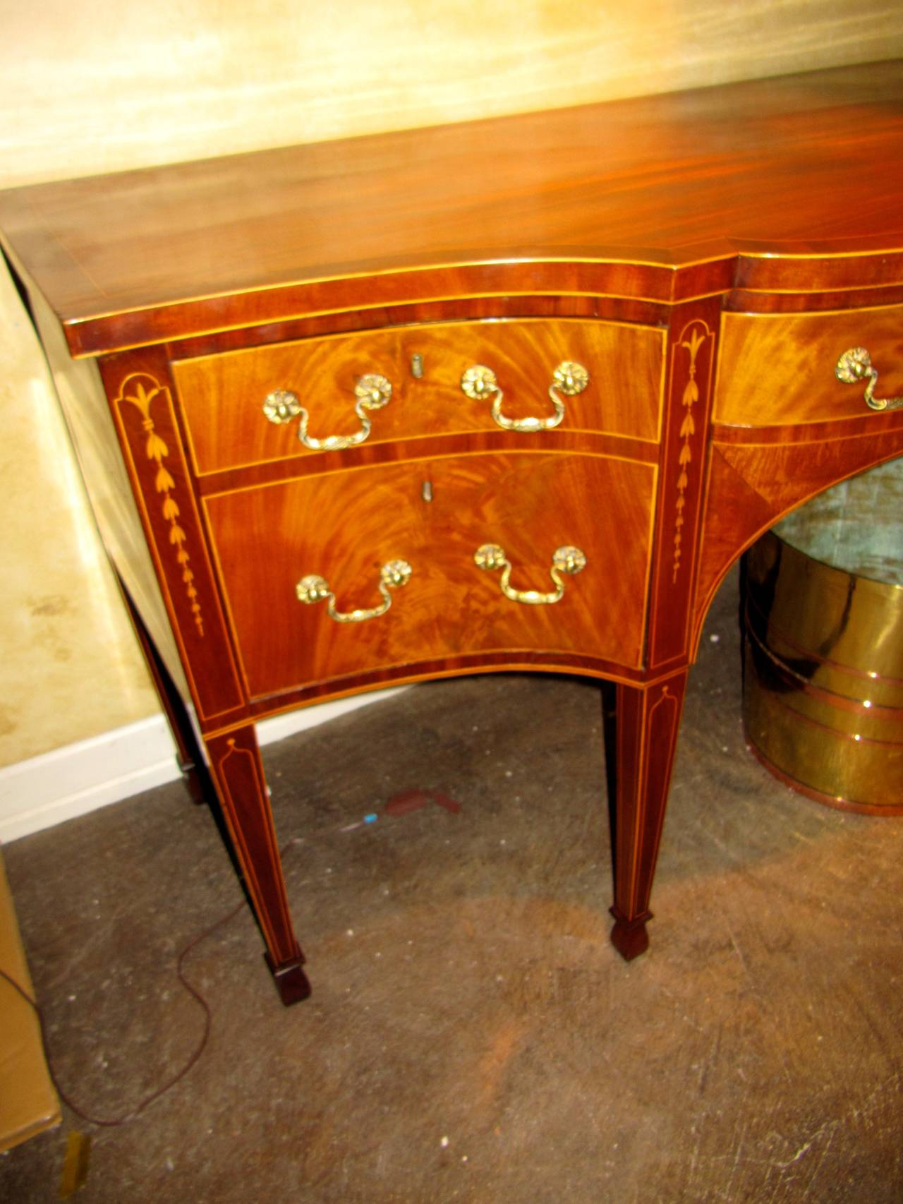 George III Mahogany and Satinwood Inlaid Sideboard 2