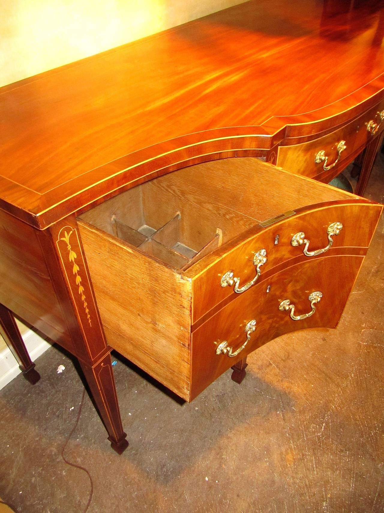 George III Mahogany and Satinwood Inlaid Sideboard 5