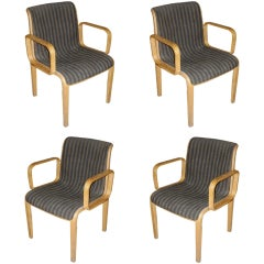 Set Of Four Knoll Arm Chairs With Original Upholstery