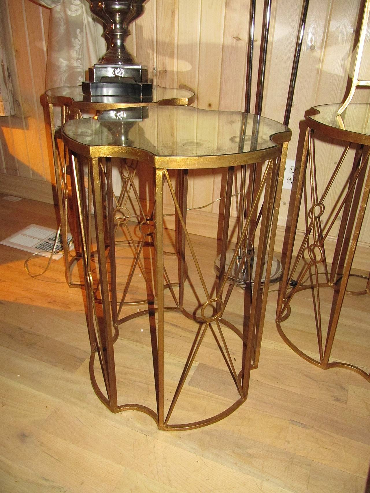 Pair of Gilt Metal and Antique Mirror Drinks Tables in the Style of Bagues 3