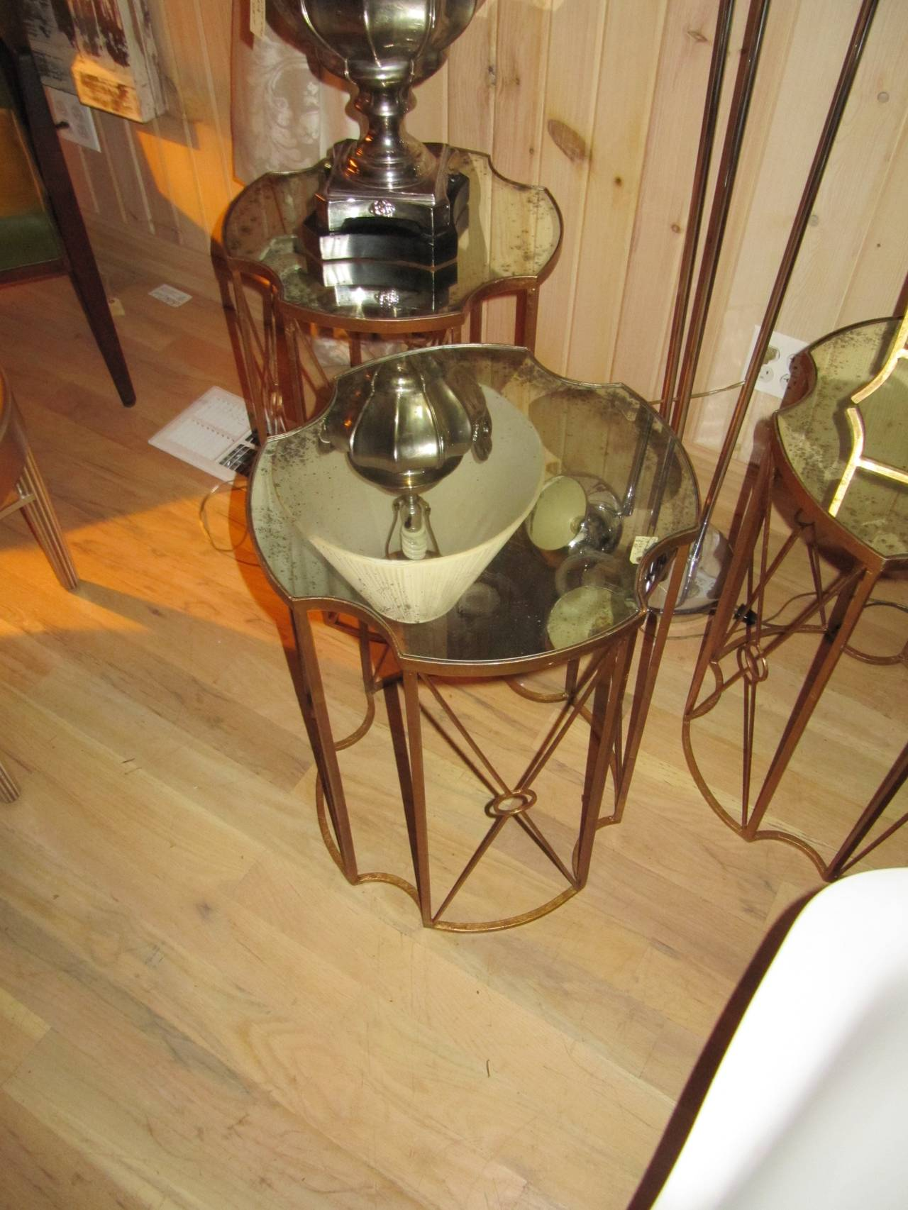 Pair of Gilt Metal and Antique Mirror Drinks Tables in the Style of Bagues 4
