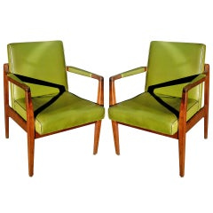 Pair of Mid-Century Leather and Solid Mahogany Armchairs