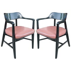 One Pair Mid Century Black Lacquer Arm Chairs