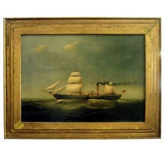 American 19th Century Oil On Canvas Of British Ship At Sea