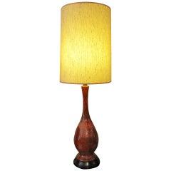 Mid-Century Ceramic Lamp, Great Burnt Orange Color