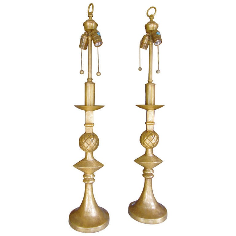 Handsome Pair of Gilt Brass Lamps in the Manner of Alberto Giacometti