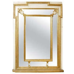 Regency Style Mirror with Painted and Giltwood Decoration