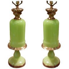 One Pair of Apple Green Opaline Glass Table Lamps