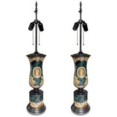 One Pair of Neoclassical Reverse Painted Lamps