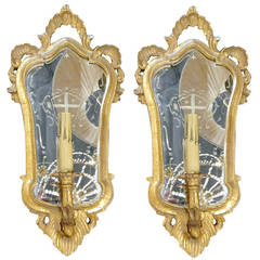 One Pair of Italian Giltwood Sconces with Mirror Backing