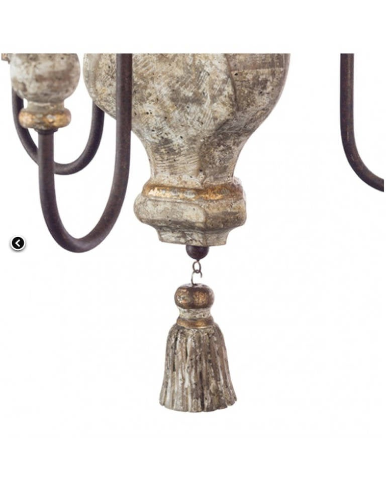 Pair of Italian Style, Three-Arm Chandelier with Tassel Detail 2