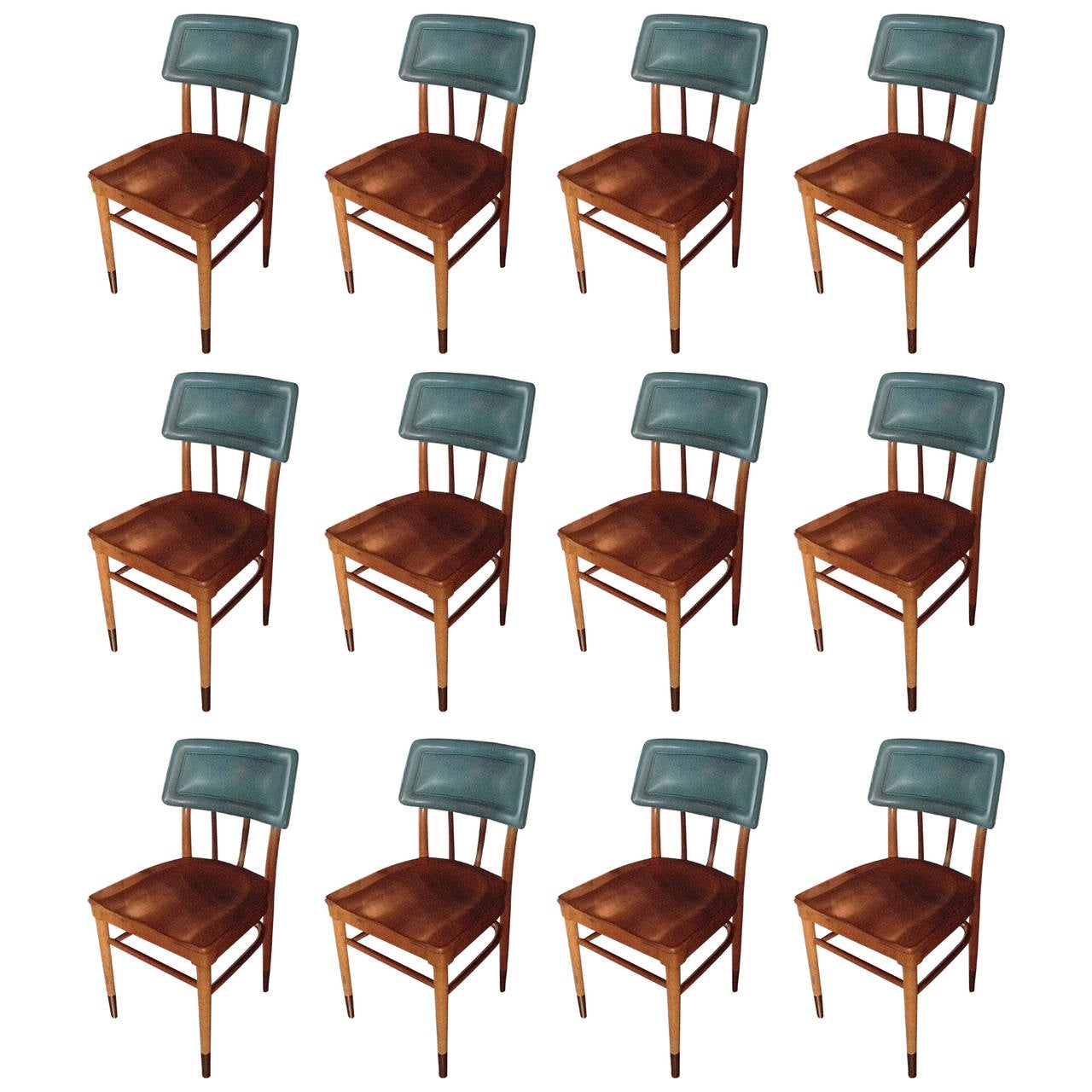 Set of 16 thonet midcentury side chairs with turquoise upholstered back at 1stdibs - Turquoise upholstered dining chair ...