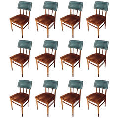 Set of 16 Thonet Midcentury Side Chairs with Turquoise Upholstered Back
