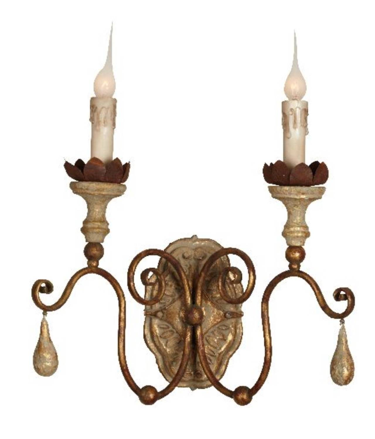 Six two-arm Italian style carved wood and tole sconces with lovely worn patina. Priced per sconce, newly wired, ready for installation.