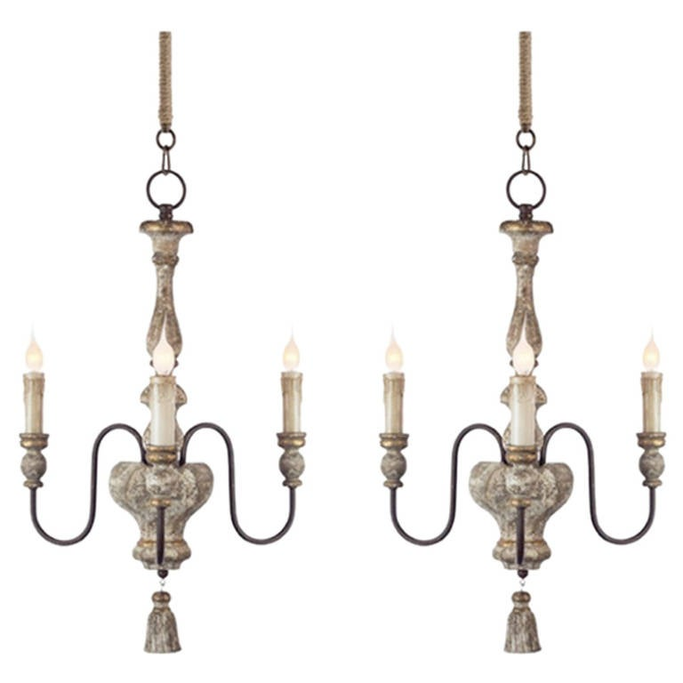 Pair of Italian Style, Three-Arm Chandelier with Tassel Detail For Sale