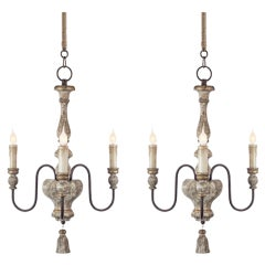Pair of Italian Style, Three-Arm Chandelier with Tassel Detail