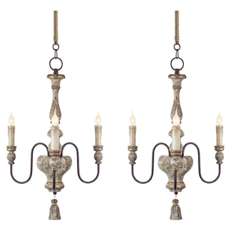 Three Arm Chandelier With Tassel Detail, Catania Vintage French Country Wood 6 Light Chandelier