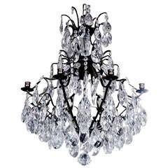 Crystal and Bronze Eight-Arm Chandelier