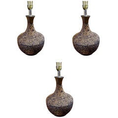Three Assorted Midcentury Cork Lamps