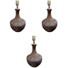 Three Assorted Midcentury Cork Lamps Of Various Size And Form.