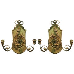 Pair of Continental Giltwood Three-Arm Sconces