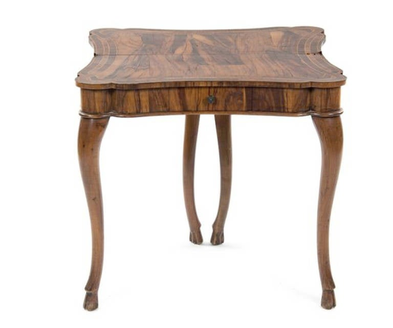 Rare 19th century calamander flip top games table at 1stdibs for Table th rotate