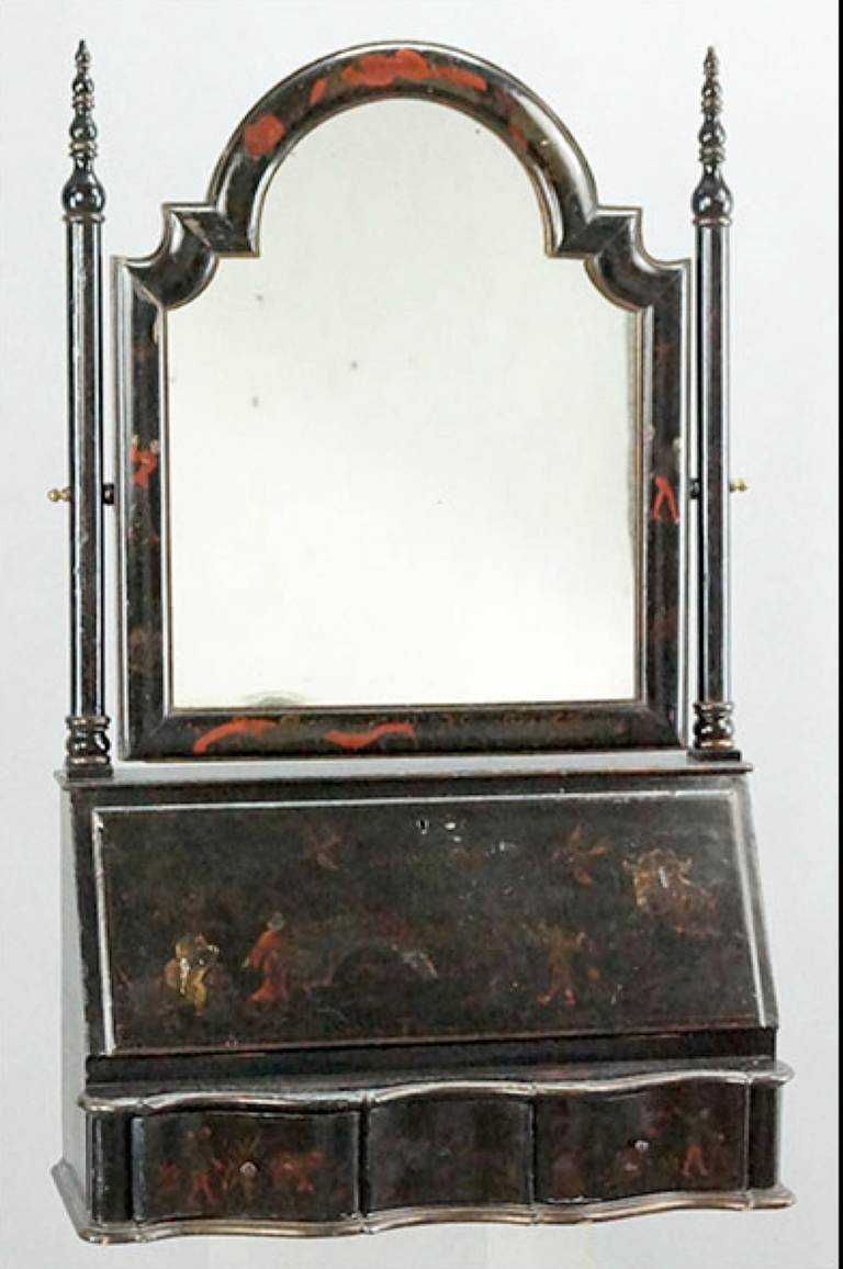 Chinoiserie Ebonized Wood Fall Front Vanity.