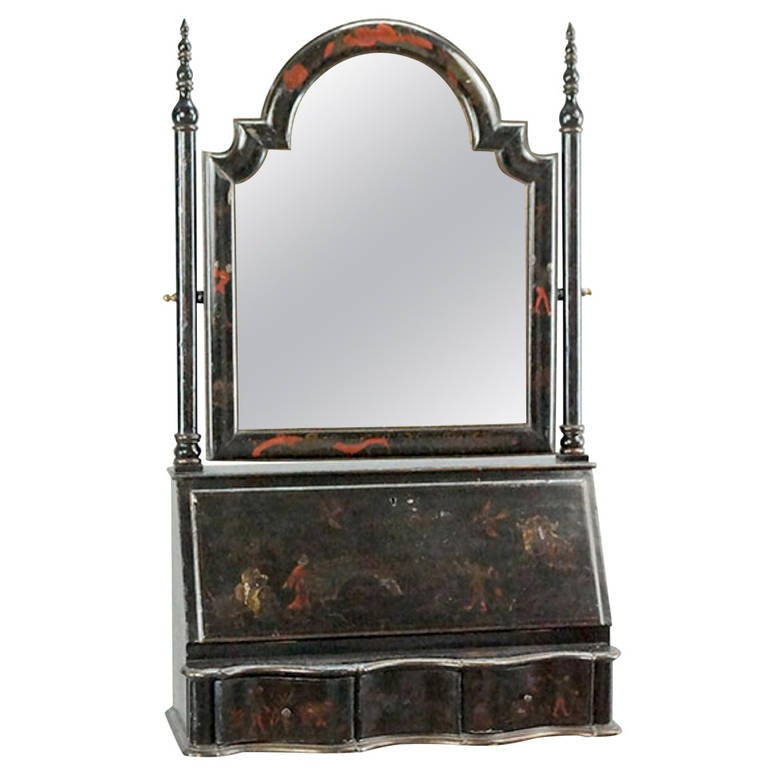 Chinoiserie Ebonized Wood, Fall-Front Vanity For Sale