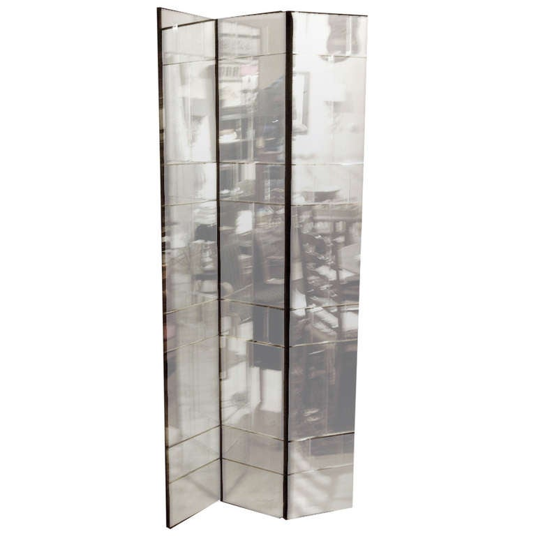 Mirrored Folding Screen Room Divider