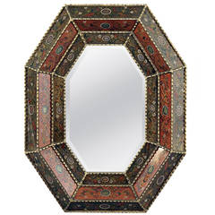 Reverse Painted Glass Framed Mirror