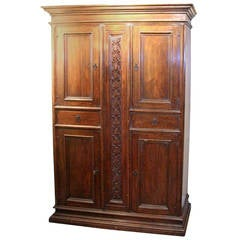 Early 19th Century Italian Walnut, Four-Door Cabinet