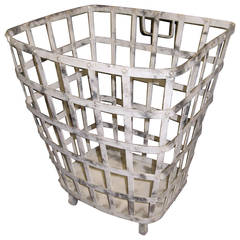 Industrial Iron Basket with Worn Painted Finish