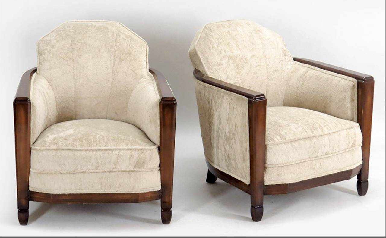 Pair of French Club Chairs Attributed to Paul Follot 2
