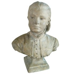Signed Terra-cotta Bust Of Young Girl