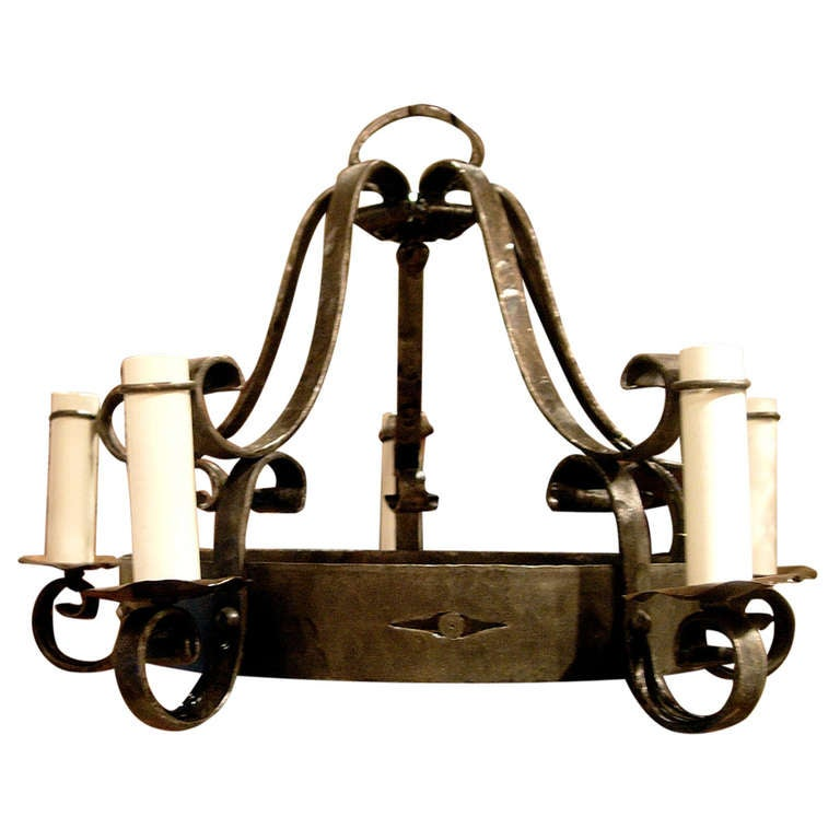 Hand Forged Wrought Iron Four Arm Chandelier At 1stdibs
