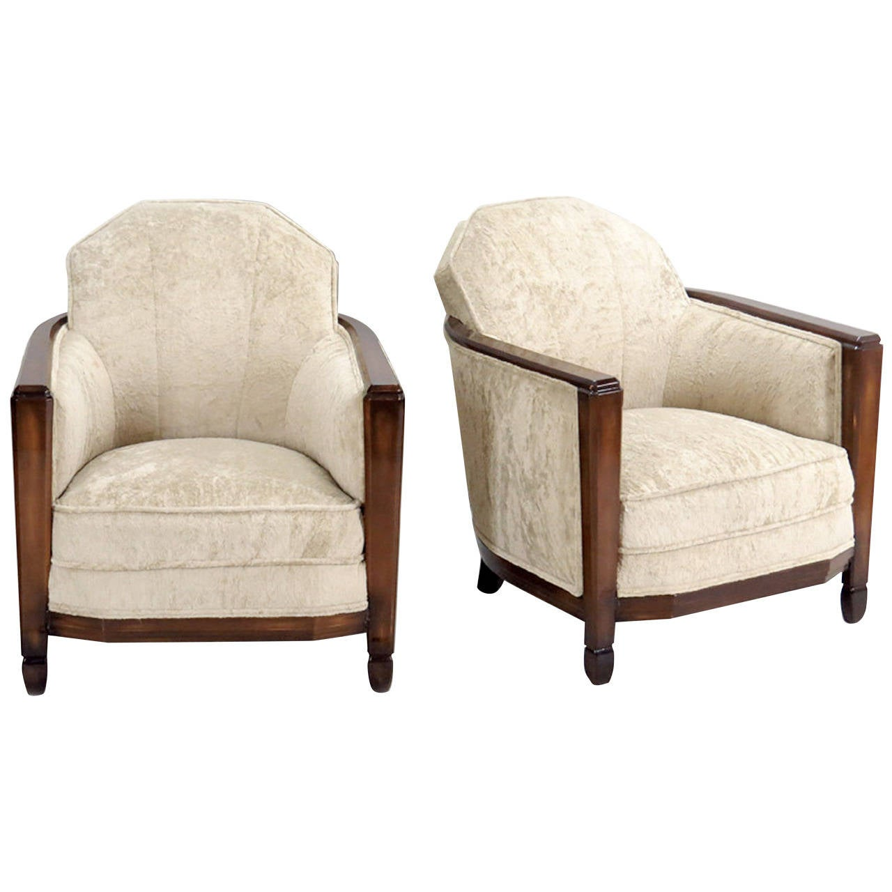 Pair of French Club Chairs Attributed to Paul Follot