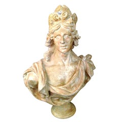 Stately Continental Terracotta Bust Depicting A Classical Female Bust.