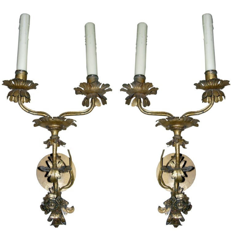 A Pair of Louis XV Style Italian Gilt Metal Two-Light Sconces For Sale