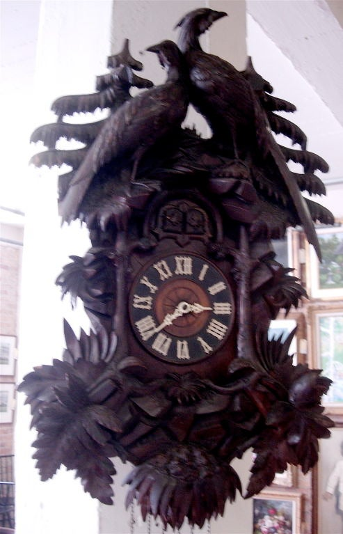 Walnut 19th Century Black Forest Cuckoo Clock For Sale