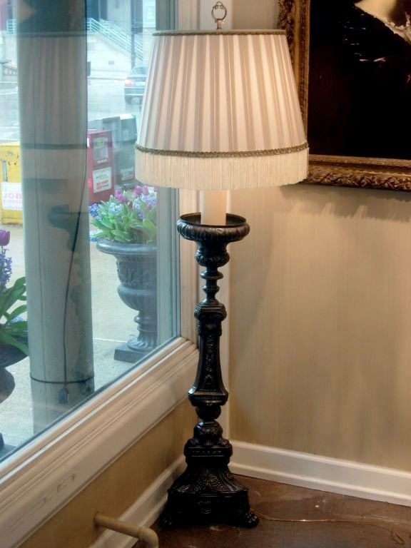 Amaizing pair 19th century French bronze prickets of generous scale mounted as floor lamps. New electrical.