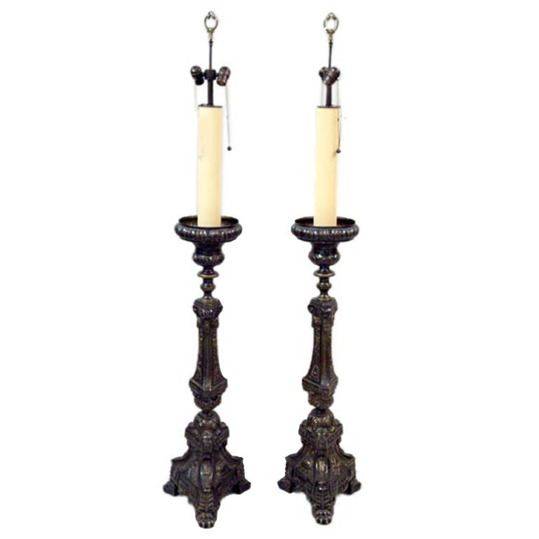 Monumental Pair of 19th Century French Bronze Floor Lamps
