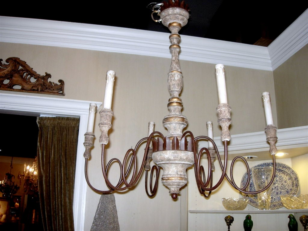 Charming Pair of Italian 18th Style Six-Arm Chandeliers 2