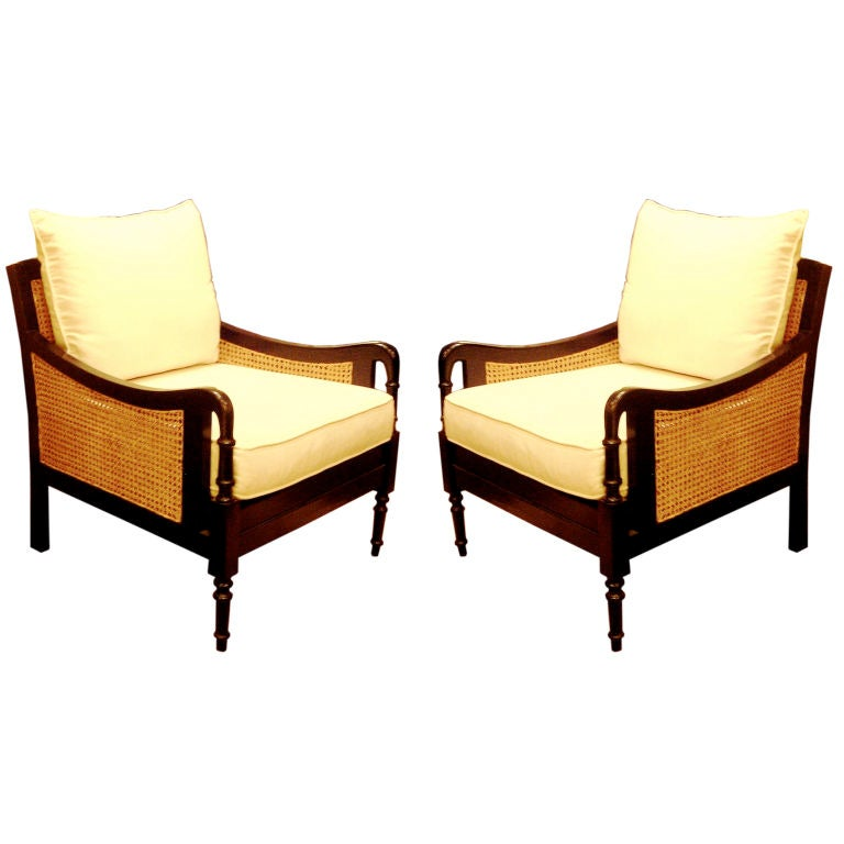 One pair british colonial style club chairs and settee at - Sofas estilo colonial ...